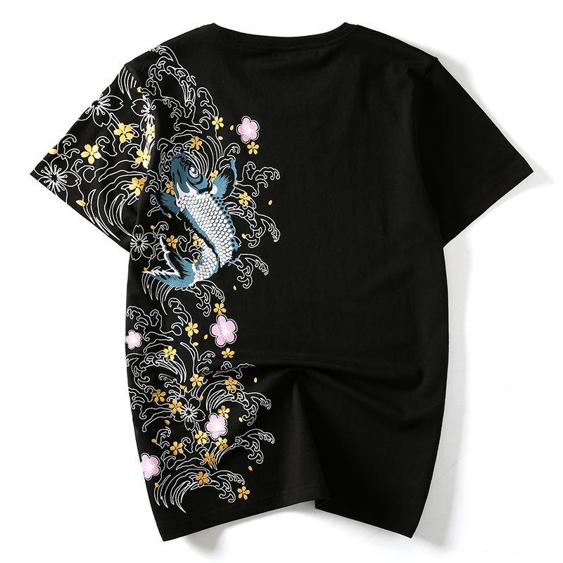Hzijue hombres camisetas bordado de pescado ropa de primeras marcas chino estilo japonés camisetas para hombre tees streetwear algodón más tamaño sh190703