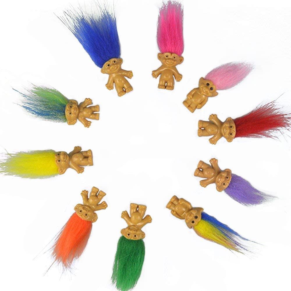 Mini Troll muñecas Trolls colorida de la vendimia suerte pelo de muñeca cromáticas regalos lindos chicos poco Colección Arts Crafts de recogida de juguetes del partido