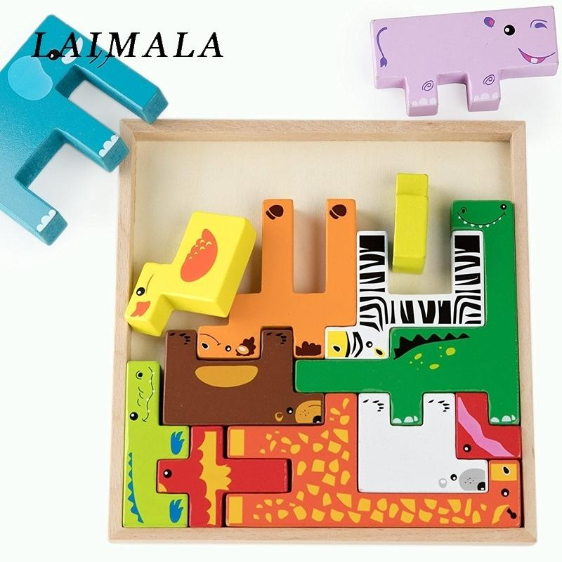 어린이 지능 개발을위한 다채로운 3D 만화 동물 차량 퍼즐 퍼즐 퍼즐 조기 교육 완구