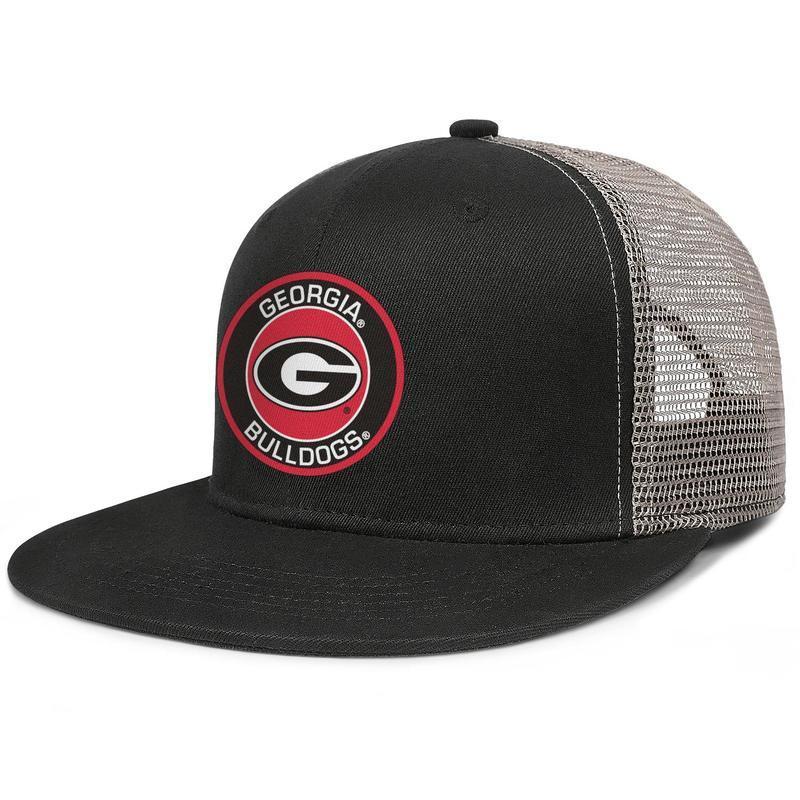 Джорджия бульдоги круглый логотип мужская и женская сетка бейсболка пользовательские персонализированные хип-хоп Flat brimhats football Core Smoke logo футбол