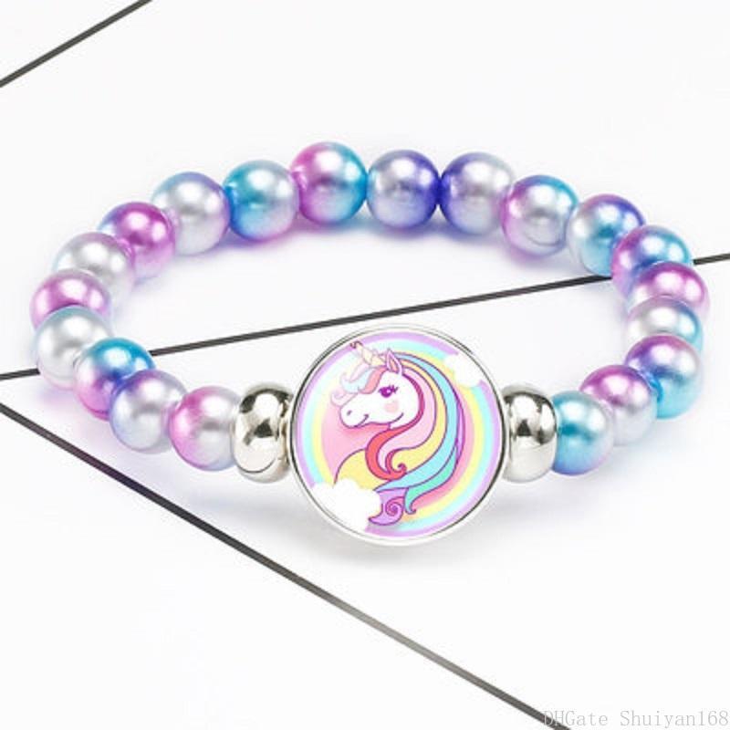 Regalo di compleanno di Natale branello acrilico il braccialetto di fascino Chridren Unicorn vetro Chunk Snap pulsante elastico braccialetto del fumetto dei capretti Jewelry Designer