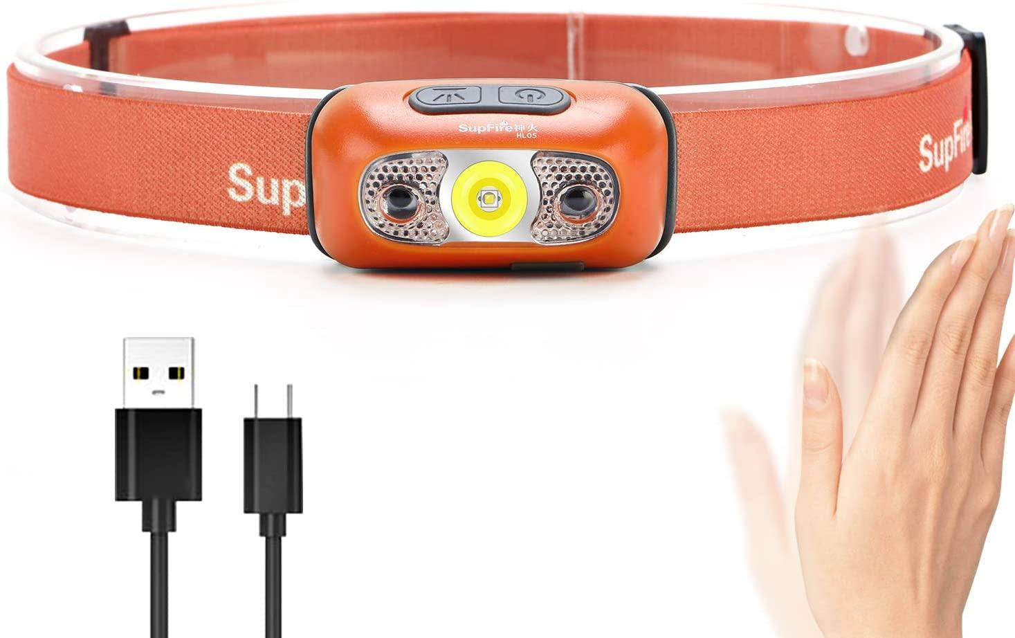 Supfire Headlamp LED Headlight 500 Lumens Cree LED Head lamp with Temperature Induction SwitchRechargeable with USB Cable 4 Modes HL05