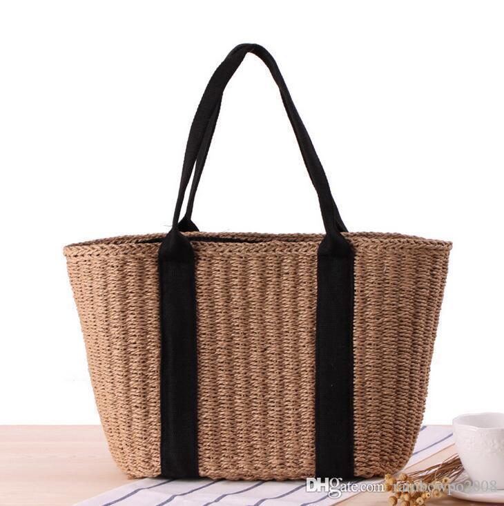 Factory wholesale brand bag summer Japanese minimalist style straw handbag all-match commuter Women Beach Bag bulk leisure Straw Beach Bag