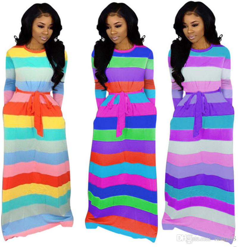 Women sexy maxi dresses casual long skirts designer fall winter clothing colorful striped print panelled pocket loose long sleeve dress 948