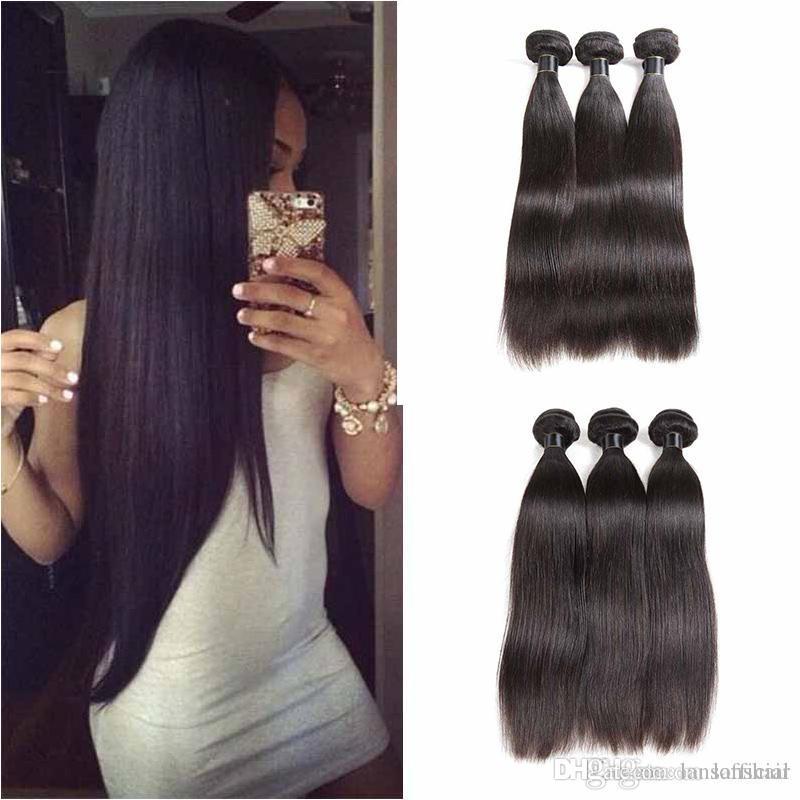 Top qualité malaisienne droit brésilien Extensions de cheveux humains non transformés Droit Virgin homme Tissages cheveux 3 pcs beaucoup noir naturel