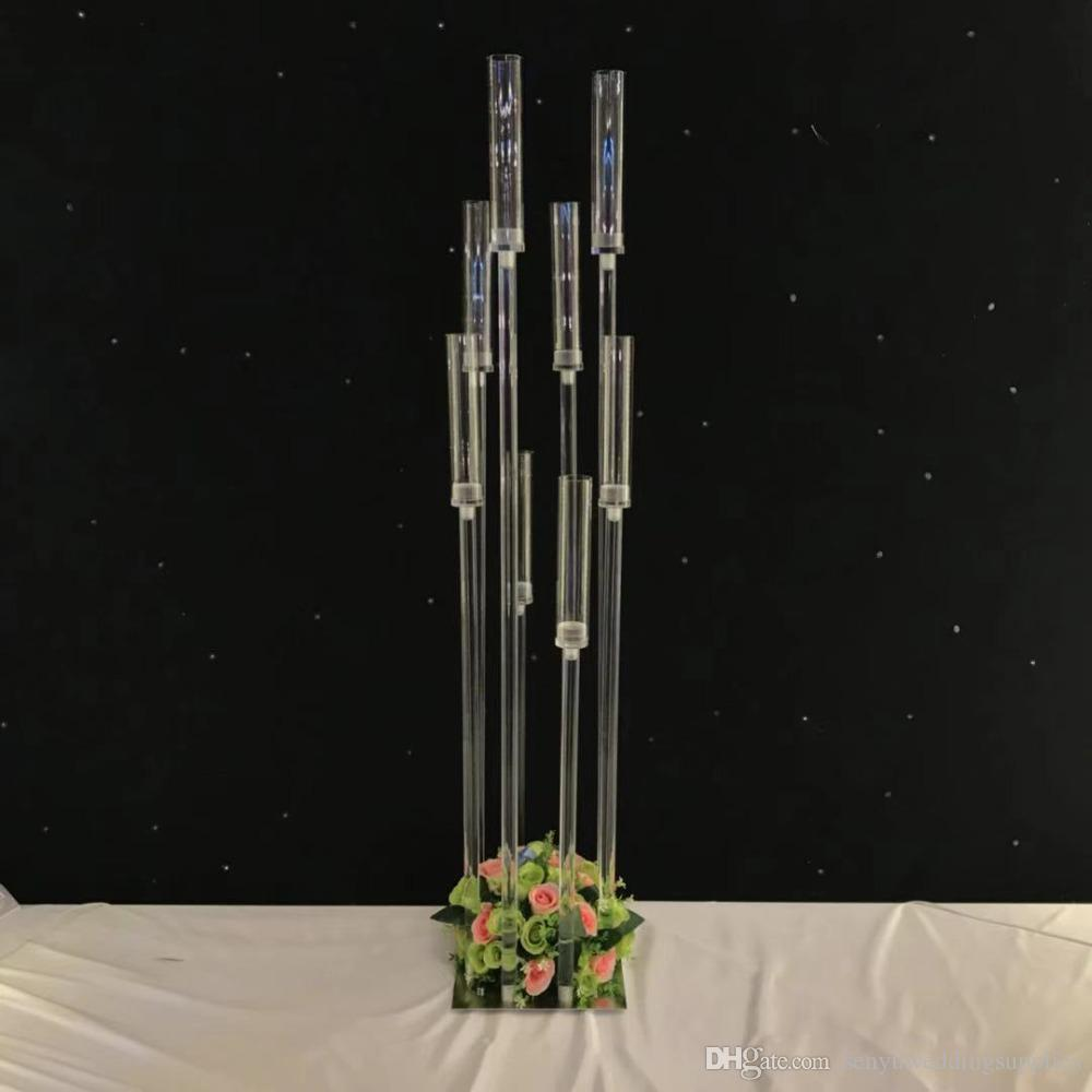 8 heads/10 heads) Lead Road Candlestick Acrylic Crystal Candle Holder Stand Gold Silver Flower Vase Wedding Centerpiece For Sale senyu0333