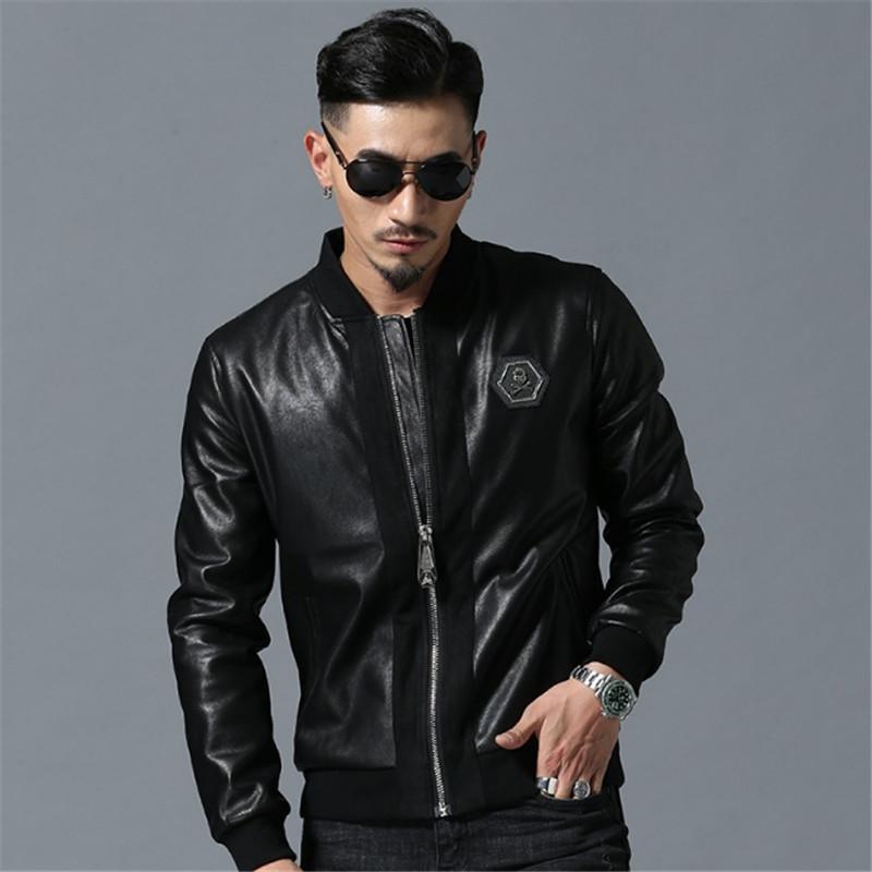 남성 하이 스트리트 스타일 스탠드 넥 Sudaderas Hombre 리브 슬리브 Streetwear 망 재킷과 코트 해골 모조 다이아몬드 PU 재킷
