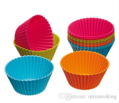 7 centimetri forma rotonda di cottura della torta muffe del silicone della gelatina muffa Silicon vaschetta del bigné della focaccina della tazza 8 colori partito accessorio tazza di cottura della muffa