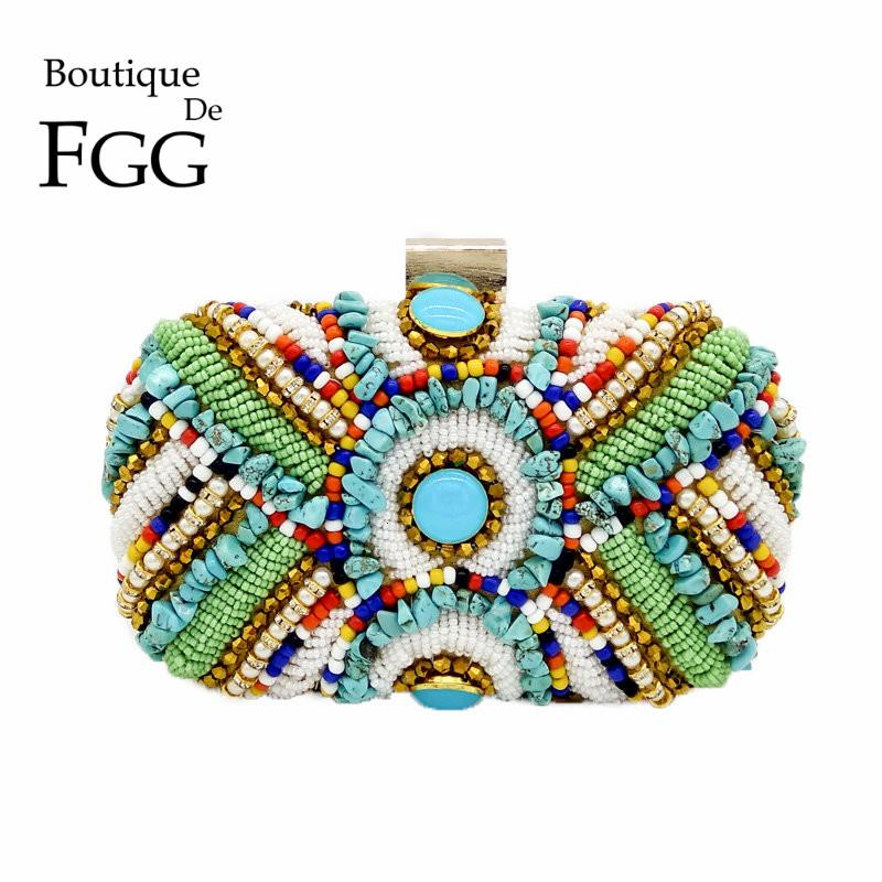 Boutique De FGG Vintage Bohemian Women Gold Clutch Purses Beaded Bag Evening Bag Wedding Handbag Party Bolsos De Fiesta Mujer SH190918