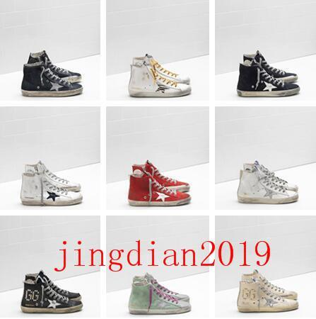2020 Italia cadenas Golden viejo estilo diseñador de moda zapatillas de cuero auténtico para mujer para hombre de los zapatos ocasionales Gooses Trainer Francy Superstar 001