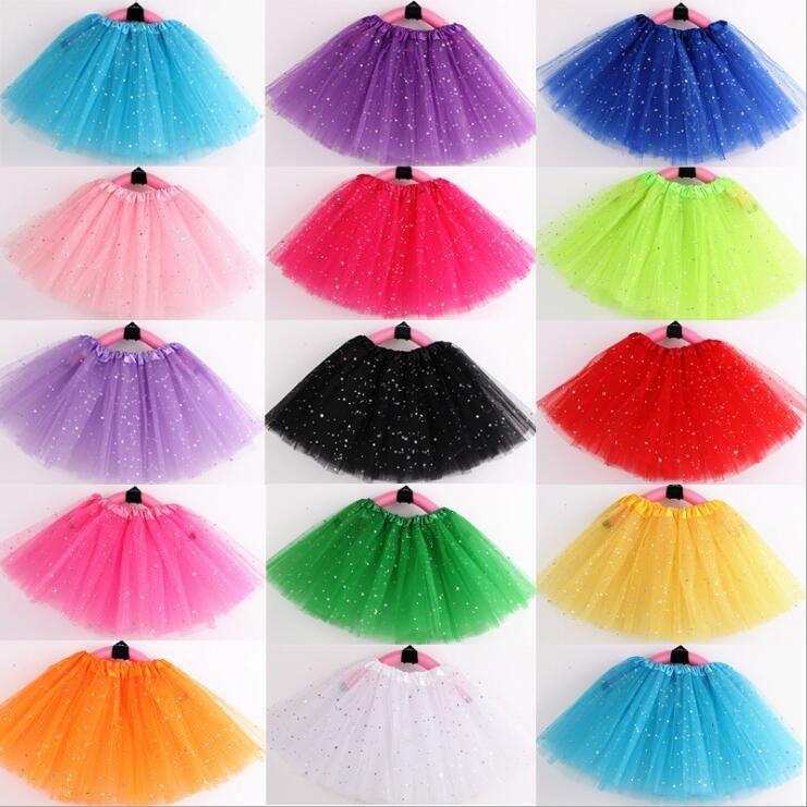 Девушки Юбки Пачки Детская Одежда Star Glitter Ballet Fancy Pettiskirt Блесток Этап Танцевальная Одежда Костюм Лето Тюль Принцесса Мини-Платье B5803