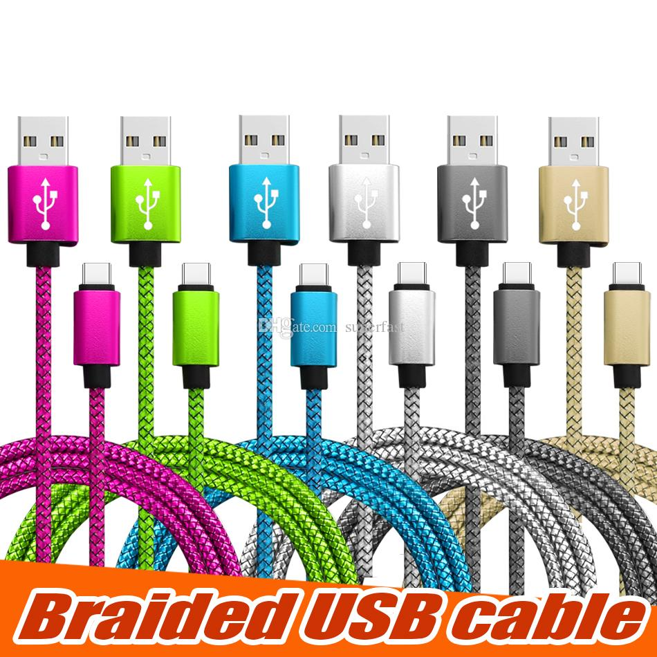 Braided USB Cable Type C Cord 1M 2M 3M Data Sync USB Charging Cable USB High Speed Durable For Android Cellphone without Package