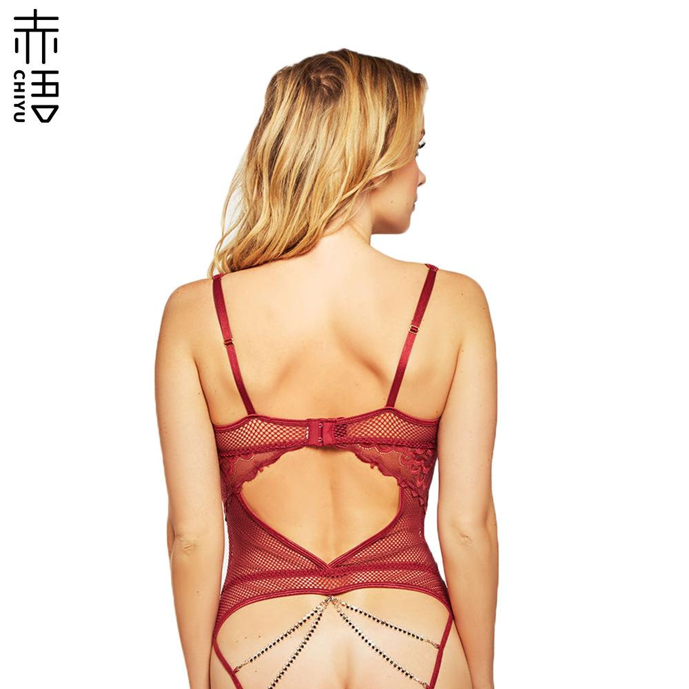INS Red Language New Lace Crotch-Free Sexy Underwear European and American Large Size Sexy Fishing Net Crotch Chain Sexy Jumpsuit Sale
