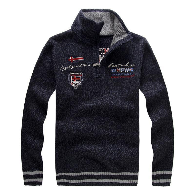 Новый мужской свитер зимняя мода вышивка сгущает стенд воротник шерстяной свитер пальто для мужчин пуловеры 3 цвета AYA15 T200402