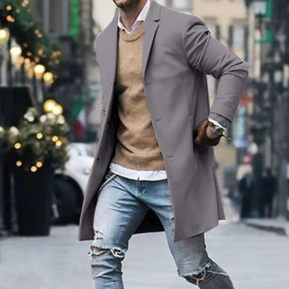 Moda-2019 Nova Primavera Outono trench coat homens Botão de Manga Comprida Roupas de Fitness Moda Streetwear homens casaco longo chaqueta larga hombr
