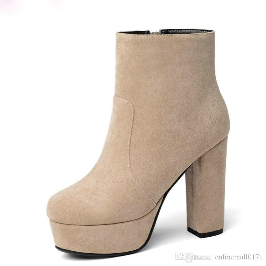 Frauen Ankle Boots-Platz High Heel Mode Winter-Schuh-Plattform-Flock-quadratische Zehe-Frauen-Stiefel