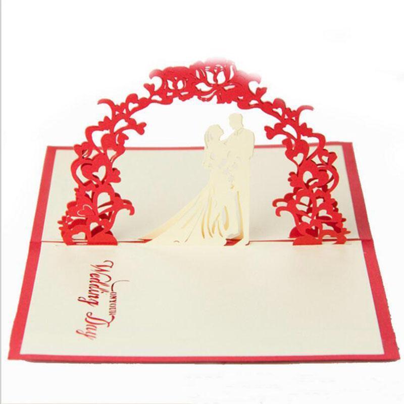 Cartes de mariage Mode Saint Valentin Invitations Délicatesse cadeau créatif main pop-up cadeau 10 * 15cm Couleur Rouge