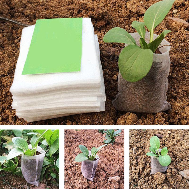 100 Pcs//Lot Nursery Pots Plant-fiber Seedling-Raising Bags Garden Home Supply