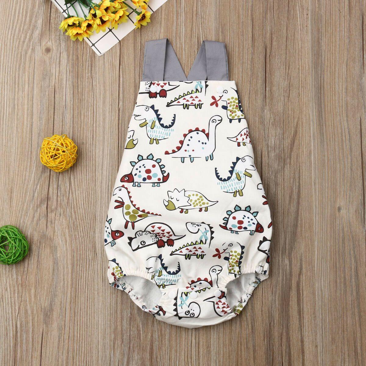 0-3Y Bebek Erkek Bebek Kız Yaz Sevimli bodysuit Kolsuz Karikatür Jumpsuit Kıyafetler Sunsuit yazdır