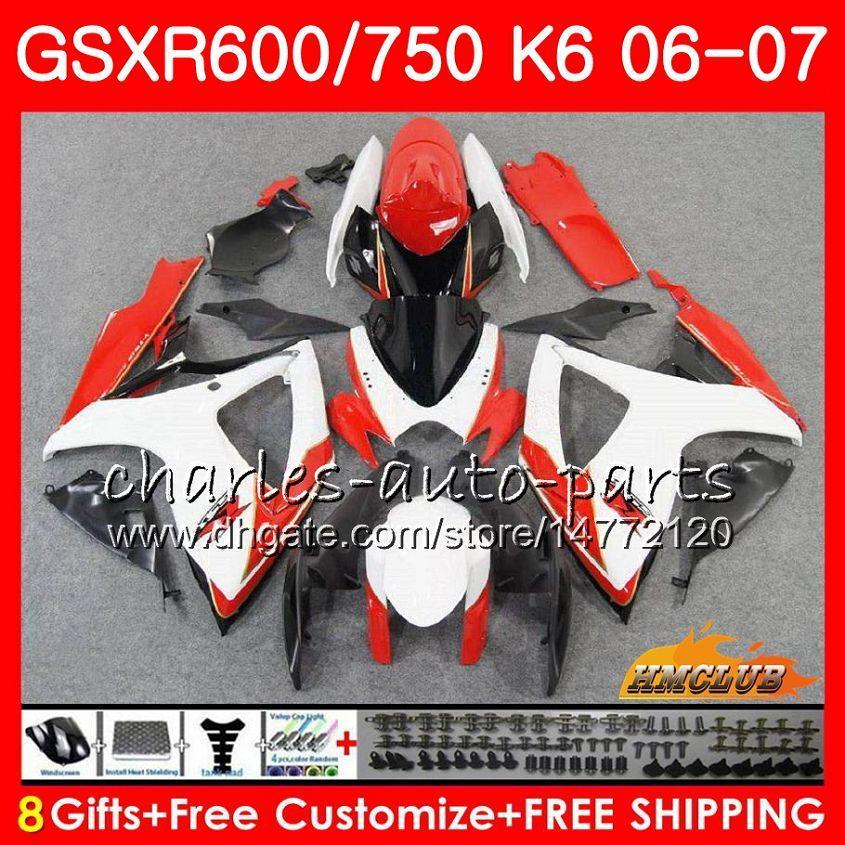 Lichaam voor Suzuki GSX R600 GSX R750 GSXR600 2006 2007 8HC.50 GSX-R600 HOT KOOP WIT GSXR-750 K6 GSXR 600 750 06-07 GSXR750 06 07 Fairing Kit