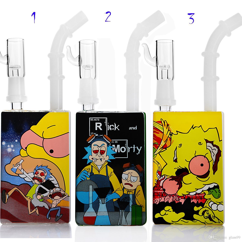 Bong Cam su boruları dab rig küçük Suyu şişesi geri dönüşümlü petrol kulesi sigara nargile için heady