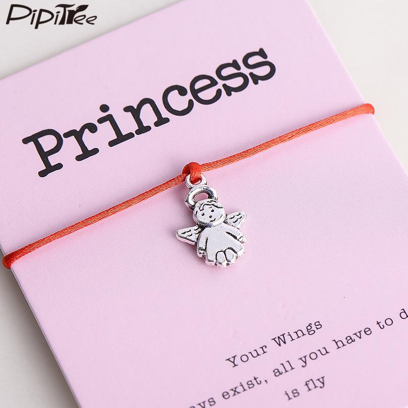 Pipitree reizende Prinzessin Engel Charm Armband Femme Lucky Red String Armband-Schmucksachen Geschenk für Frauen Kinder Adjustable