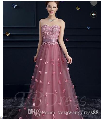 Apliques Lace Tulle Querida vestido longo da dama de honra