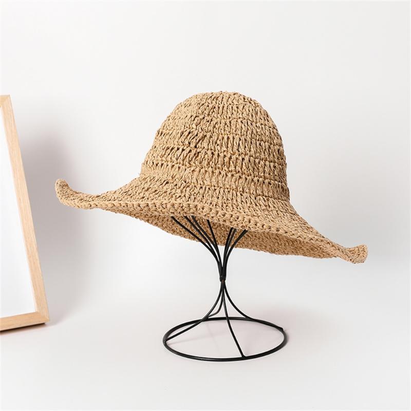 gorro chapéu de balde mulheres chapéu pescador chapéus Feminino de palha grande para as mulheres Sun Beach Folding malha Viagem Lazer Dome fresco