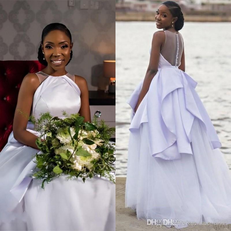 Black Girls pas cher africaine Plage Boho taille des robes Jewel-cou satin illusion Retour Bouton hiérarchisé Robes de mariée robe de Noiva