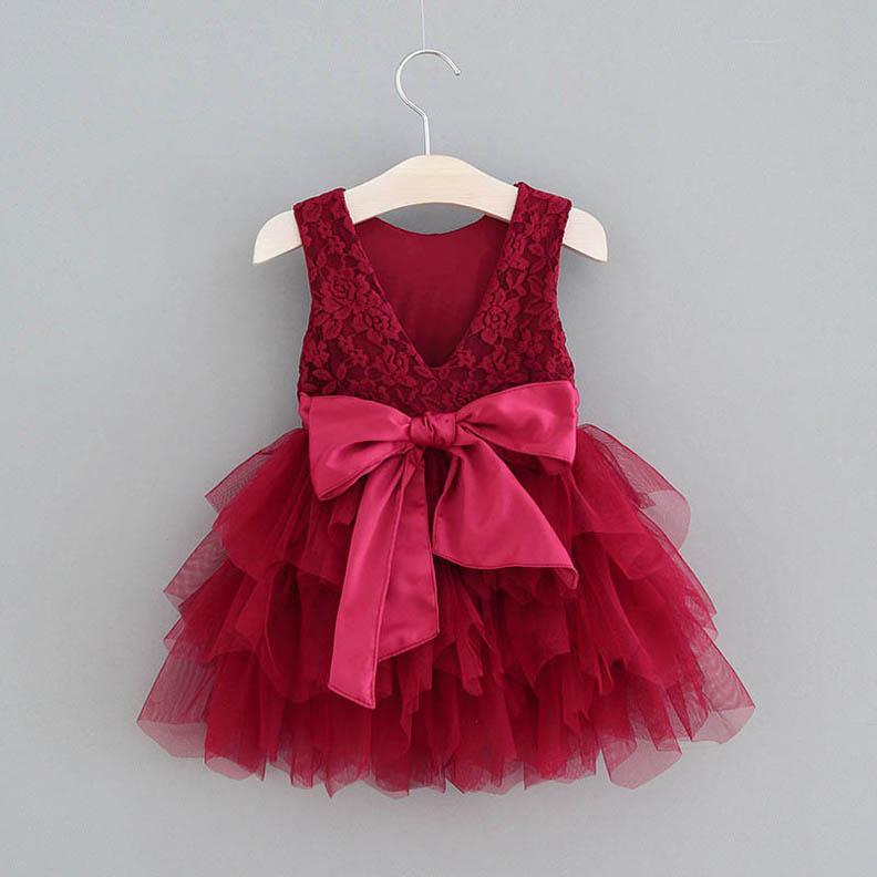vestidos de las niñas dulce del cordón del verano del tutú muchachas del partido vestido de la manera de la princesa boda vestidos de los niños niños niñas ropa de diseño de ropa B133