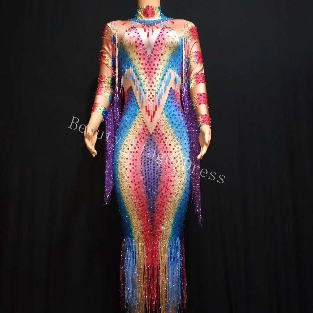 Yeni Tasarım Moda Renkli Mahsul En Püskül Balo Parti Giyim Elbise Streç Akşam Doğum Günü Elbise Şarkıcı DJ DS Sahne Suit