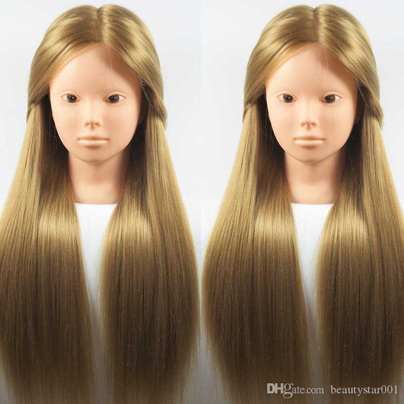 Longue 65cm 100% haute température fibre Cheveux blonds Femme formation Tête coiffure pratique Doll Head à vendre Coiffures tête malléable