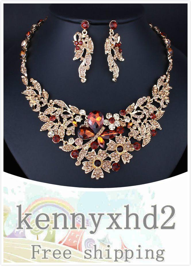 Nouveau mode coloré Verre Cristal Collier Fleur Boucles d'oreilles mariage bijoux de mariée pleine de diamants bijoux