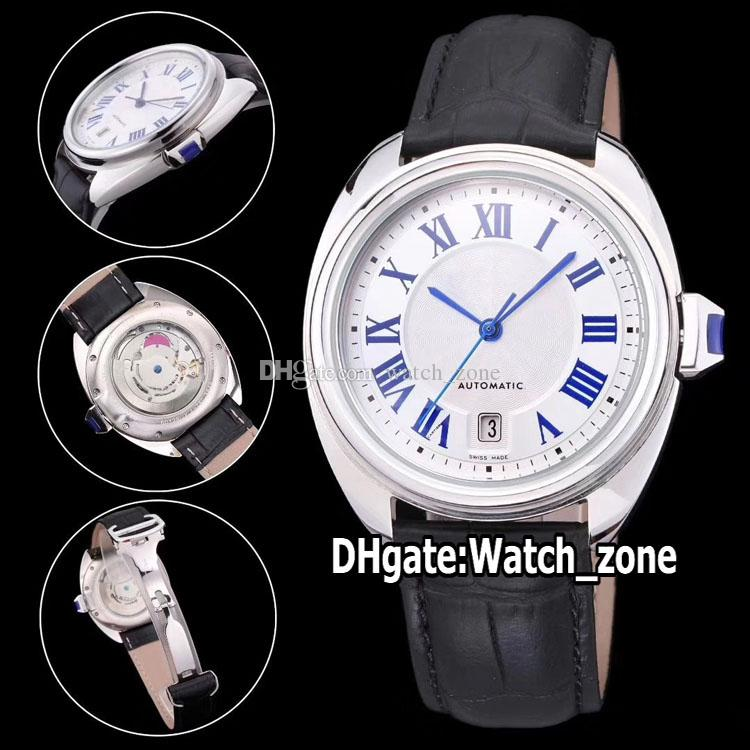 Cheap New Cle De WSCL0018 Branco Dial Asian 2813 Automatic Mens Watch Caso 316L Aço Correia de couro de alta qualidade Desporto Relógios Watch_zone