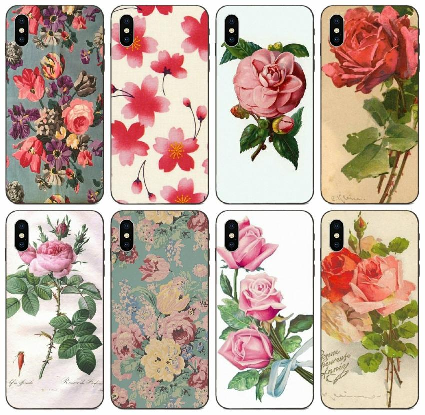 [TongTrade] Cartoon Vintage Floral Image Design Flowers Case For iPhone 11 Pro X XS Max 8s 7s 6s 5s Plus Galaxy Note 8 9 Huawei Y9 P30 Case