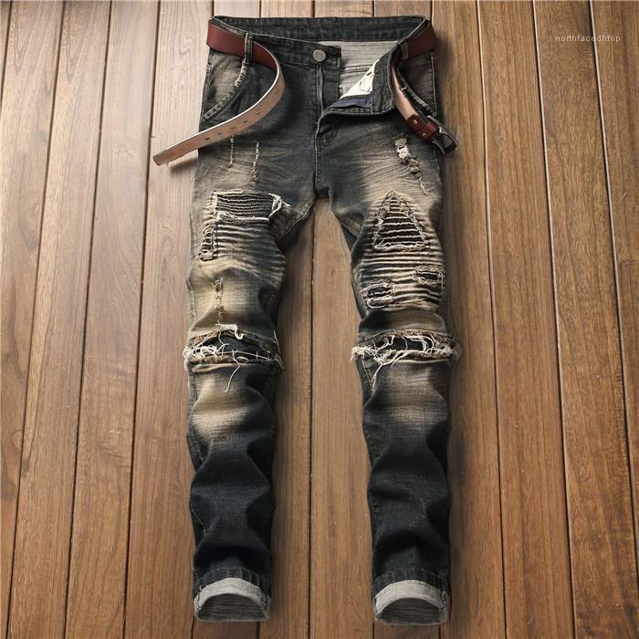 Ropa Soliid Color Ropa Casual Ripped Mens Diseñador de Moda Jeans Recto Regular Cremallera Fly Button Homme