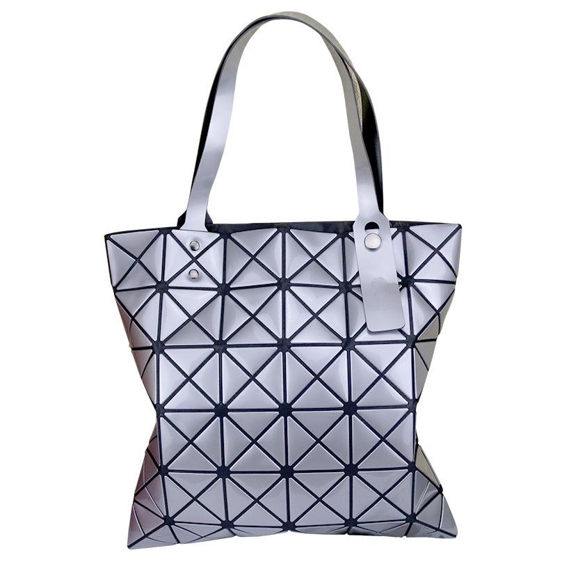 Japan Three House Lifetime Single Shoulder Woman Package Geometry Diamond Lattice Laser Light Noodles Fold Handbag