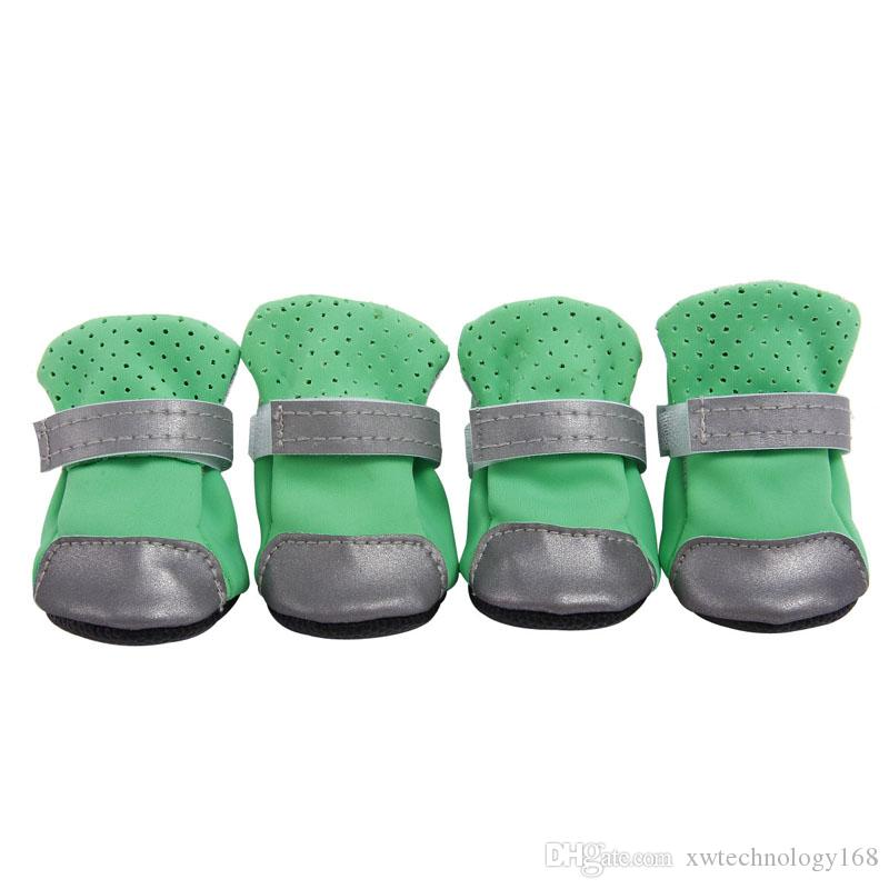 Pets Shoes Boots Dog Water Resistant Shoes Reflective Fastening Straps Pet Shoes Boots 7 Colors 5 Sizes