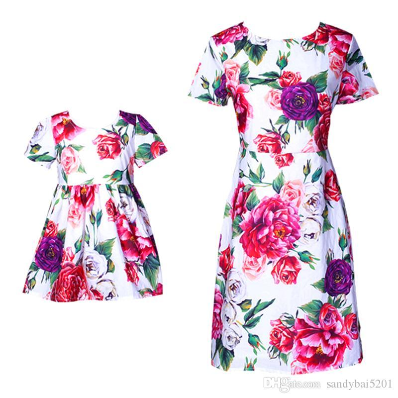 Mom Daughter Dresses Mother Girls Party Dress Kids Girls Dress Women Plus Size Dress Summer Match Floral Print Family Outfits Clothes S349