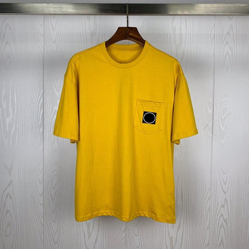 Mens Fashion camisetas camisa de manga curta Verão T Sólidos Casais Cor bolso Decoração Homens Mulheres em torno do pescoço manga curta Hip Hop Tee