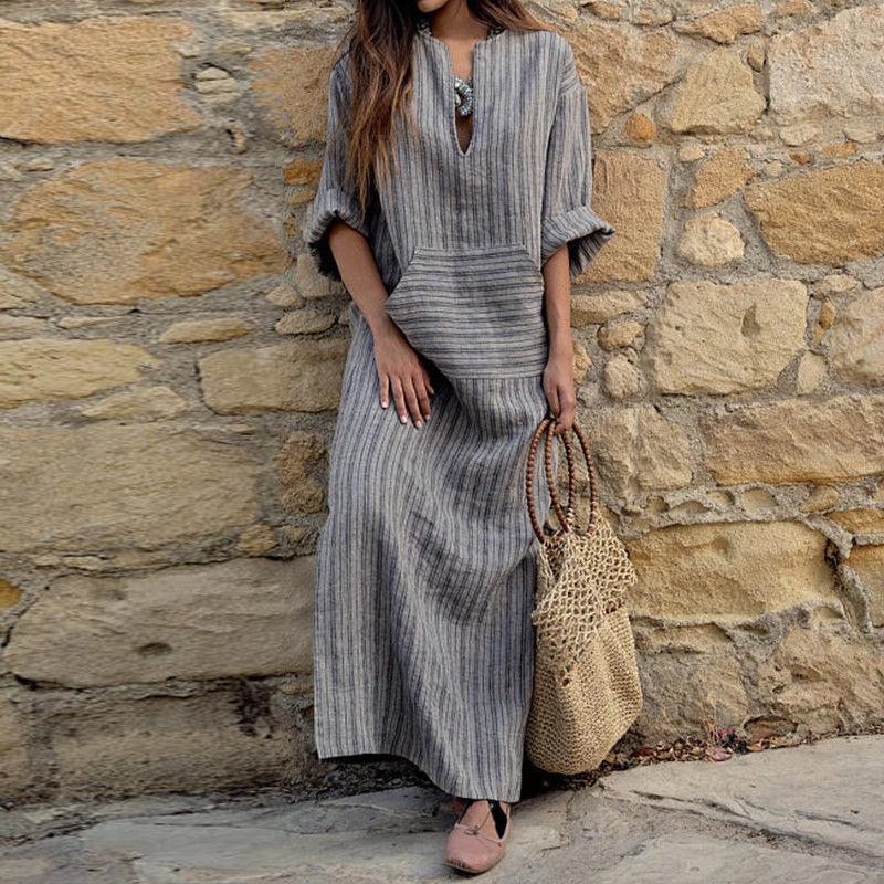 Womens Cotton Leinenkleid Große Größe 5XL Große Größe Kaftan Langarm 2020 Sommer Gestreifte Frauen Plus Lange Maxi Boho Kleider