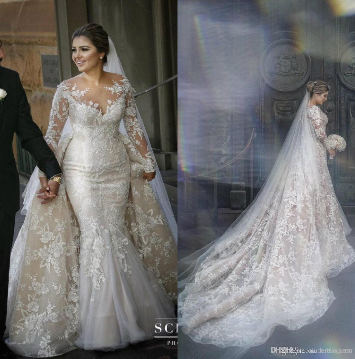 2019 Vintage Mermaid Wedding Dresses With Detachable Train Arabic Sheer Neck Lace Appliques Plus Size Wedding Dress Long Sleeve Bridal Gowns