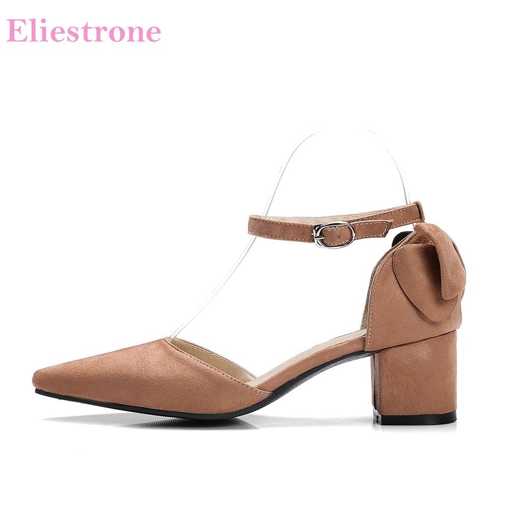 Hot Sale New Summer Sweet Pink Yellow Women Dress Sandals Vogue Chunky Heels Lady Wedding Shoes S50 Plus Big Size 10 43