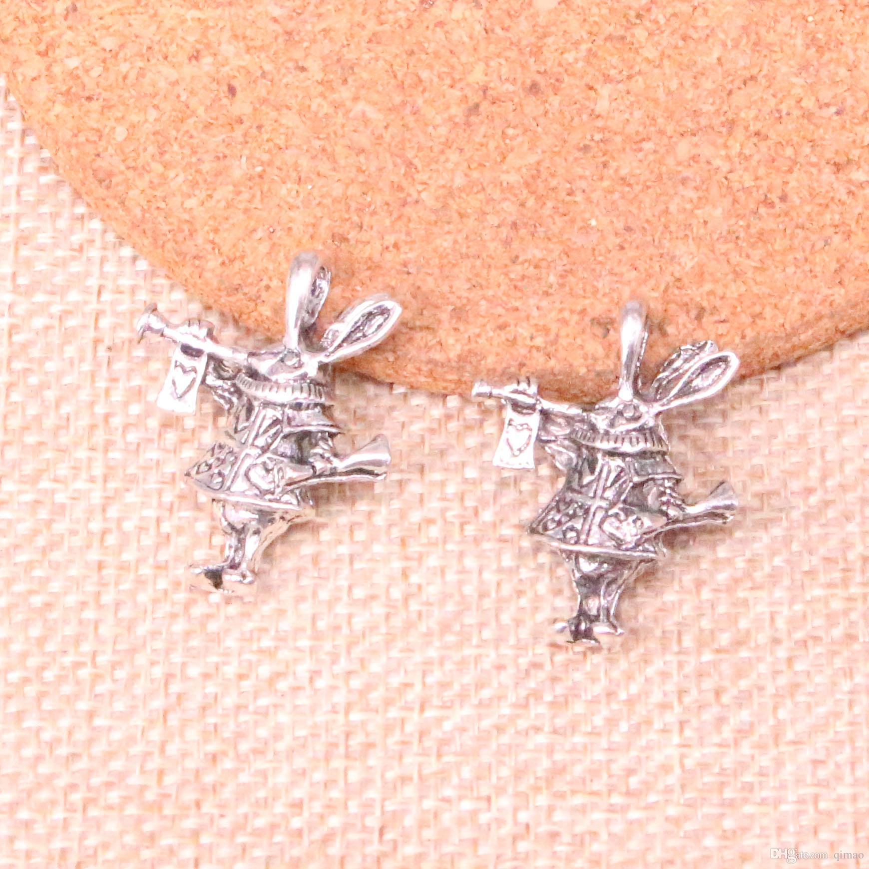 25pcs Charms 3D horn bunny rabbit Antique Silver Plated Pendants Fit Jewelry Making Findings Accessories 27*23*7mm