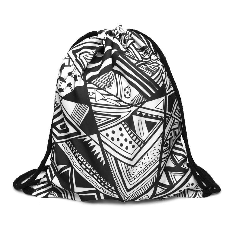 Lovely 3D Printed Unisex Backpacks bags Drawstring Rucksacks big Capacity Schoolbag for Young men & Women(Black and White Geom