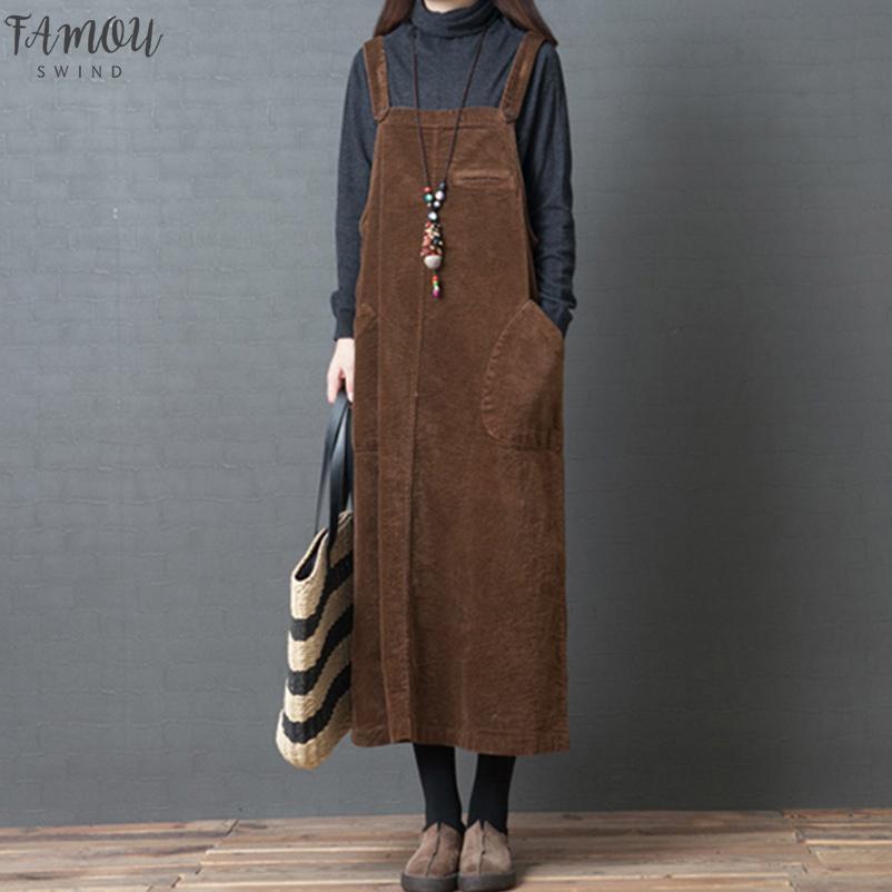 Vestido de pana mujeres de la vendimia ocasional del bolsillo de deslizamiento de la correa del chaleco del vestido elegante de las señoras vestidos de otoño invierno de vestir femenina del traje Vestidos