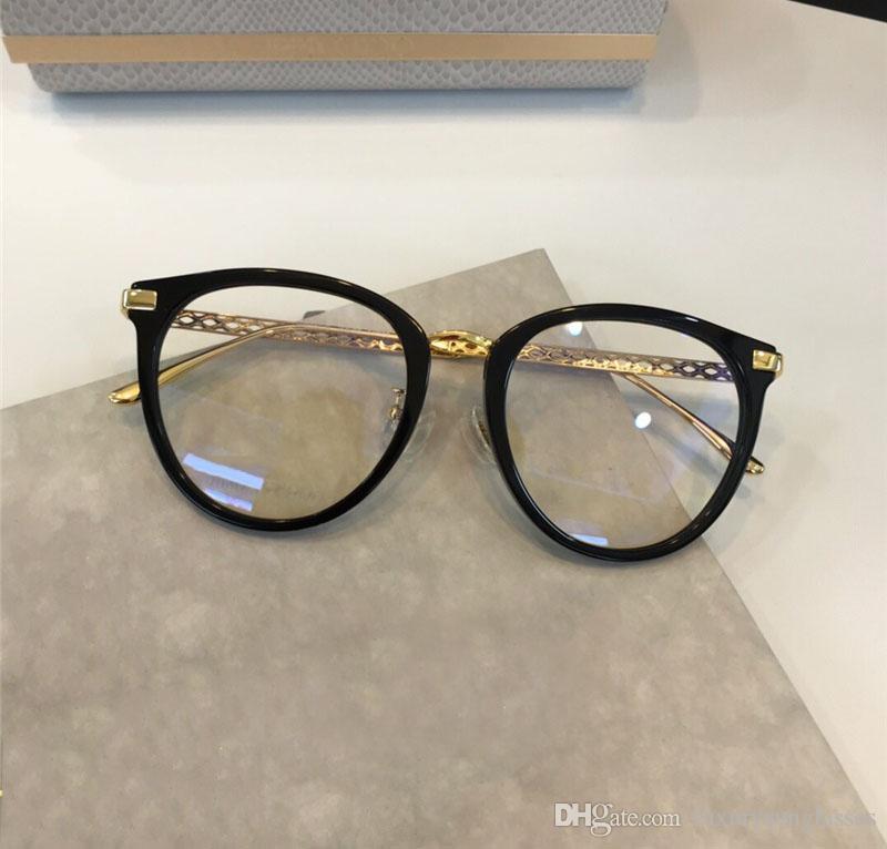 Yeni Moda Kadın Tasarımcı Optik Gözlük 220F-S Metal ve Plank Çerçeve Yaz Basit Stil Temizle mercek Gözlük Kasa ile gel