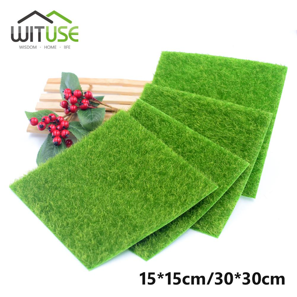 1pc 4pcs 8pcs 15x15cm/30x30cm Artificial Lawn Micro Landscape moss Grass flowers Grass for home Party Wedding Decoration