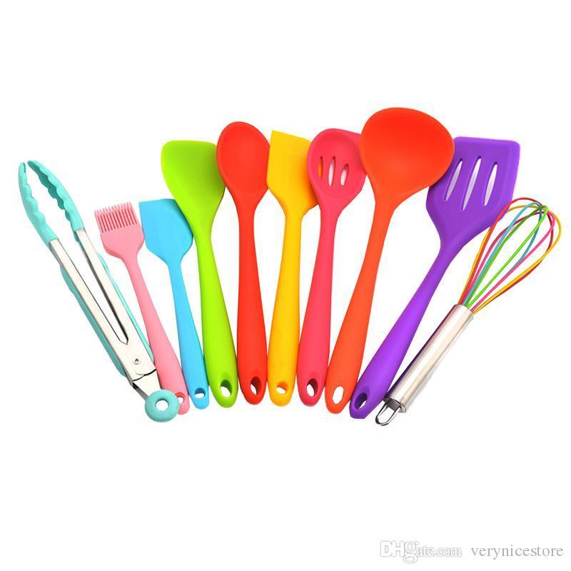 10 PCS Utensílios de cozinha coloridos de Silicone Resistente Ao Calor, bigodes não grudados, Torneira De Cozinha amiga do ambiente