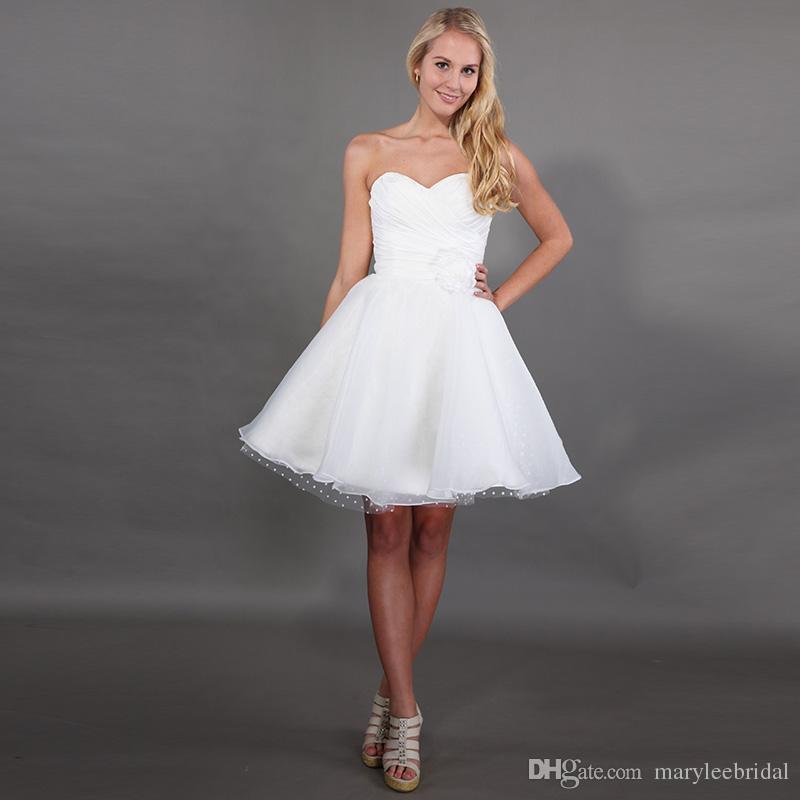 2019 Hot Sale Short Mini A-Line Wedding Dresses Sweetheart Neckline Backless Pleats Taffeta Flowers Dot Tulle Organza Skirt Vestido De Noiva